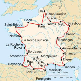 1938 Tour de France - Route of the 1938 Tour de France followed counterclockwise, starting in Paris