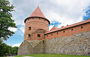 Trakai Island Castle - Forecastle walls and corner tower.