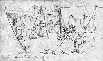Traverse des Sioux - Traverse des Sioux campDrawing by Frank Blackwell Mayer, 1851.