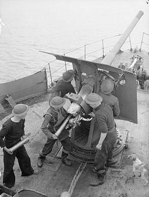 Military mascot - A small dog watches gun practice on board a World War II, Royal Navy, Naval trawler