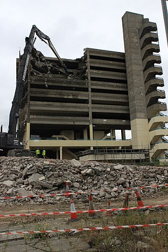 Trinity Square, Gateshead - The first day of demolition on the car park structure, on the 26 July 2010