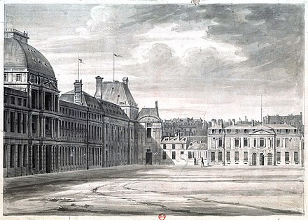 The Committee of General Security was located in Hotel de Brionne on the right; it gathered on the first floor. (The Tuileries Palace, which housed the Convention, is on the left) Tuileries, facade regardant la cour du Carrousel (dessin) - Destailleur Paris tome 6, 1292 - Gallica 2013 (adjusted).jpg