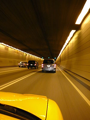 Louis-Hippolyte Lafontaine Bridge–Tunnel - Inside the tunnel. One of the three lanes is shown to be reversible.