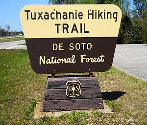 De Soto National Forest - Image: Tuxachanie Hiking Trail Sign