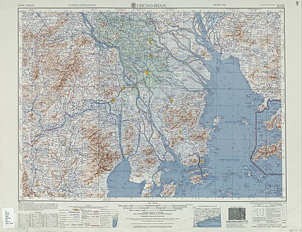 A 1954 map of the Zhongshan region. Macau is located at the bottom-right of the region. Txu-oclc-10552568-nf49-8.jpg