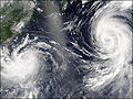 Typhoon mindulle and tingting 2004 june 30.jpg