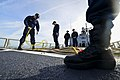 U.S. Sailors aboard the guided missile frigate USS Halyburton (FFG 40) work with lines on the ship's flight deck Jan. 13, 2014, in the Atlantic Ocean 140113-N-KG407-538.jpg