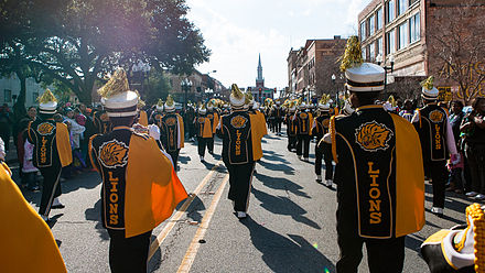 UAPB's M4 marching band UAPB Band, 2013 Krewe of Harambee MLK Day Mardi Gras Parade 001.jpg