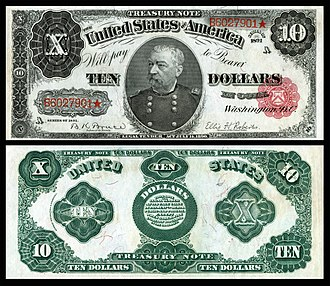 Sheridan memorialized on the 1890 $10 Treasury note, and one of 53 people depicted on United States banknotes US-$10-TN-1891-Fr-371.jpg