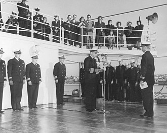 USS Castle Rock (AVP-35) - The commissioning ceremony for USCGC Castle Rock (WAVP-383) on 18 December 1948 at Mare Island Naval Shipyard, Vallejo, California.