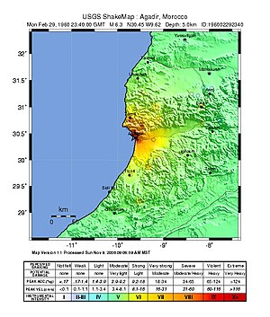 1960 Agadir earthquake - USGS ShakeMap showing the intensity of the earthquake