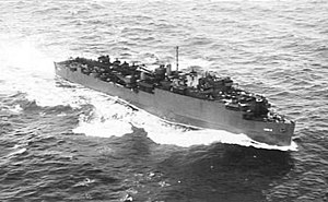 USS Carter Hall (LSD-3) - Carter Hall underway in the Coral Sea, 25 November 1943.