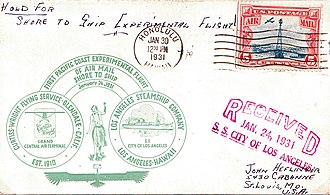 USS Aeolus (ID-3005) - Shore-to-Ship cover flown to the SS City of Los Angeles at sea, 26 January 1931