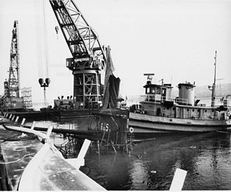 USS Guitarro (SSN-665) - Guitarro on the bottom of the Napa River after her accidental sinking at Mare Island Naval Shipyard at Vallejo, California, on 15 May 1969.