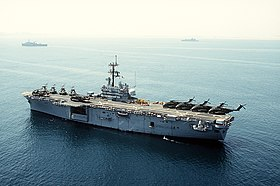 USS Iwo Jima (LPH-2) i Persiska viken under Operation Desert Shield.