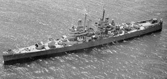 USS Montpelier (CL-57) - Aerial view of Montpelier in 1945