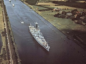 USS Newport News (CA-148) - Newport News transiting the Kiel Canal in September 1962.