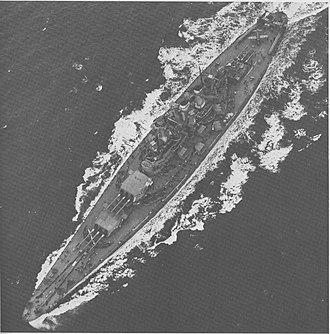 North Carolina-class battleship - North Carolina seen from the air on 17 April 1942