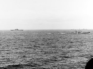 USS Saratoga (CV-3) with Atlanta (CL-51) off Guadalcanal Aug 1942.jpg