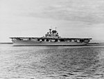 USS Wasp (CV-7) en route to sea from Guantanamo Bay, circa in 1940 (NH 43464).jpg