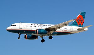 Airbus A319 - A US Airways A319 in America West heritage livery.