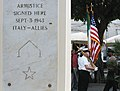 US Navy 030906-N-5821W-005 Naval Air Station (NAS) Sigonella's Stephen Decatur School NJROTC color guard comes to a halt beside the monument marking the spot where the armistice was signed between Italy and the Allies in Cassib.jpg
