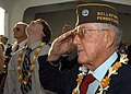 US Navy 041207-N-3019M-007 A Pearl Harbor survivor salutes during morning colors during the 63rd commemoration of the Dec. 7, 1941 attack on Pearl Harbor, Hawaii.jpg