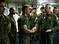 US Navy 070522-N-1328S-002 Commander, U.S. Pacific Command, Adm. Timothy J. Keating, thanks a Marine for his service during his visit to USS Boxer (LHD 4).jpg