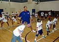 US Navy 070730-N-7427G-001 Duane Bowe, a member of the Harlem Globetrotters instructs students during a basketball camp held on Naval Air Station, Joint Reserve Base, New Orleans.jpg