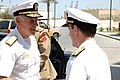 US Navy 070916-N-6794Z-001 Adm. William J. Fallon, commander of U.S. Central Command, is greeted by Vice Adm. Kevin Cosgriff, commander of U.S. Naval Forces Central Command (NAVCENT).jpg