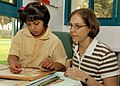 US Navy 071016-N-6524M-001 Hospital Corpsman 2nd Class Patricia Merical, attached to USS Enterprise (CVN 65), participates in a community relations project at the Dubai Center for Special Needs.jpg