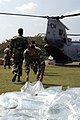 US Navy 071127-N-7955L-115 Bangladesh Army Soldiers offload bags of fresh water from a U.S. Marine Corps CH-46.jpg