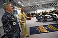 US Navy 090114-N-9818V-322 Command Master Chief Bill Peterson, of Naval War College, wears the Navy working uniform as Master Chief Petty Officer of the Navy (MCPON) Rick D. West speaks with the Prospective Commanding Officer,.jpg