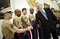 US Navy 101025-N-5549O-010 Secretary of the Navy (SECNAV) the Honorable Ray Mabus greets Marines assigned to the U.S. Embassy.jpg