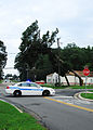 US Navy 110828-N-BJ275-006 Sailors assigned to the base police department block a street with a damaged tree being held by power lines.jpg