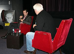 Ulrich Matthes - Matthes (left) speaking at an interview with Jim Rakete. (right)
