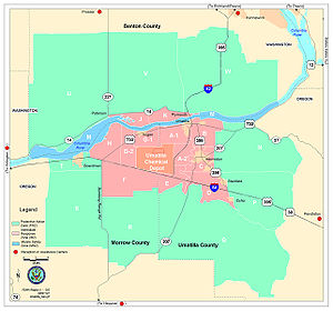 Umatilla Chemical Depot - UCD Map with emergency accident zones