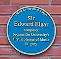 University of Birmingham - Bramall Music Building - blue plaques group - Elgar.jpg