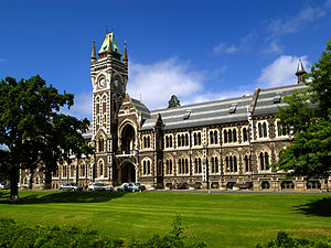 University of Otago - The Registry Building (Clocktower Building), looking east.