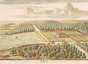 Uppark - A bird's-eye view of Uppark in the early 18th century by Jan Kip.