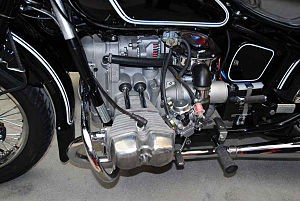 Motorcycle components - Opposed twin engine on a Ural