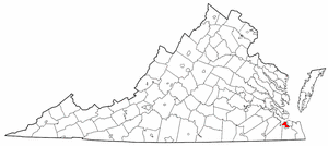 National Register of Historic Places listings in Portsmouth, Virginia - Location of Portsmouth in Virginia