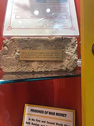 Saint Valentine's Day Massacre - Photo of what Ripley's Believe It or Not! claims to be a Saint Valentine's Day Massacre brick; photo taken at Ripley's in 2018