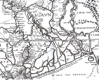 Map from 1680 showing the lower course of the Ganges to the west