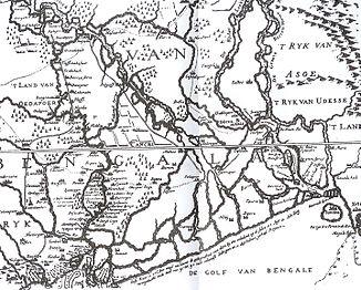 Karte von 1680 mit weiter westlich verlaufendem Unterlauf des Ganges