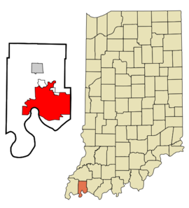 Vanderburgh County Indiana Incorporated and Unincorporated areas Evansville Highlighted.png