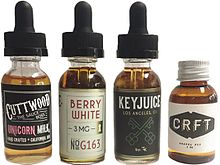 Various bottles of e-liquid.