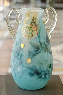 Gall   vase with lilies and daises   Multi-layered blown crystal with
