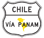 A Vía PanAm shield sign is sometimes found on routes in South American countries associated with the Pan-American Highway.
