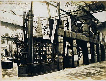 Victoria's stand at the Paris Exhibition Universal of 1867, showing bales of wool Victorian stand in 1867.jpg